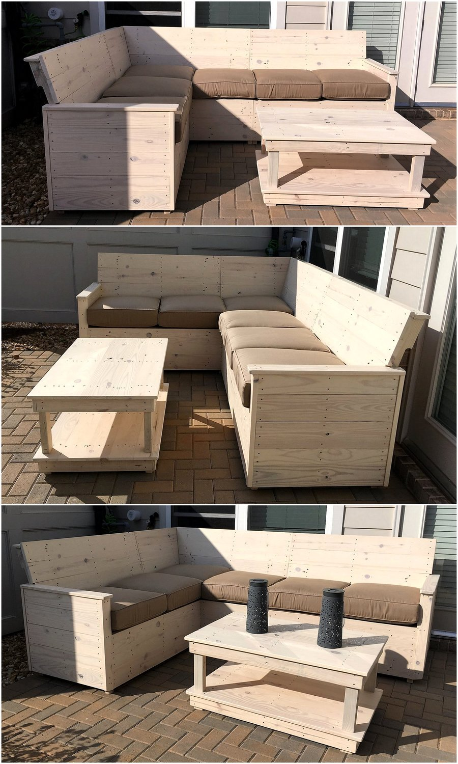 wooden pallet L shape sofa