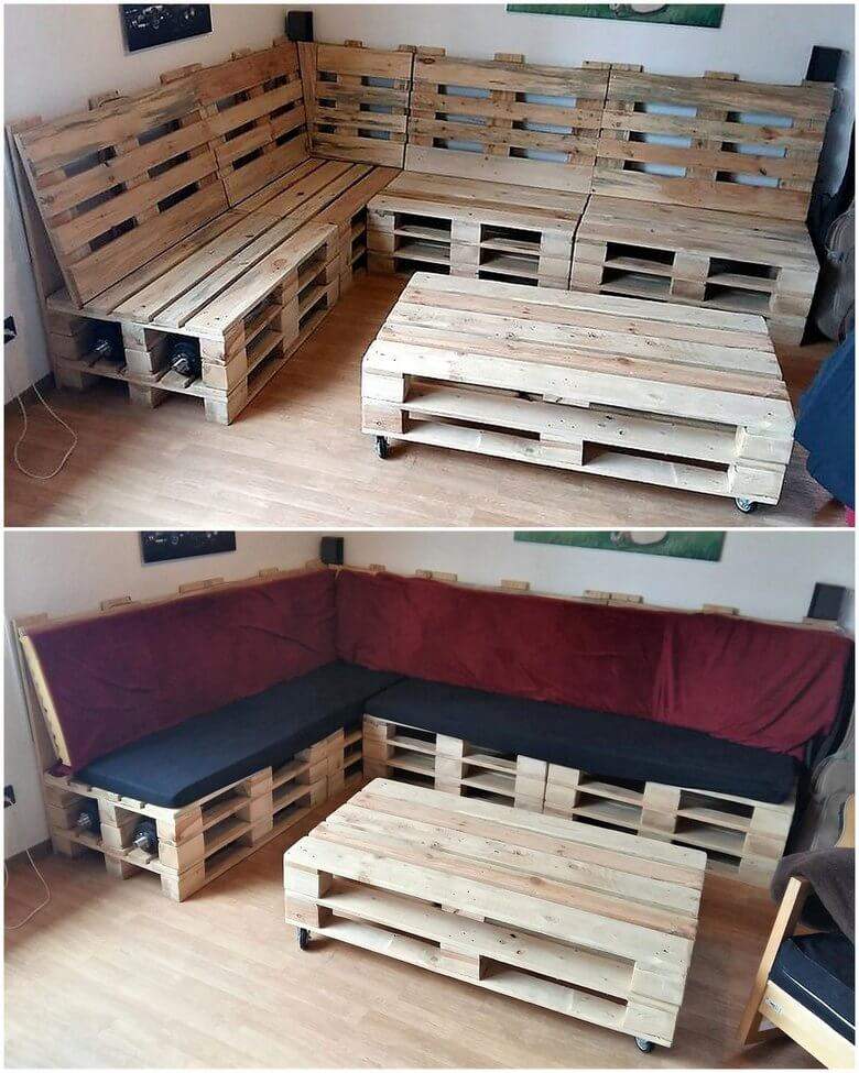 wooden pallets couch set