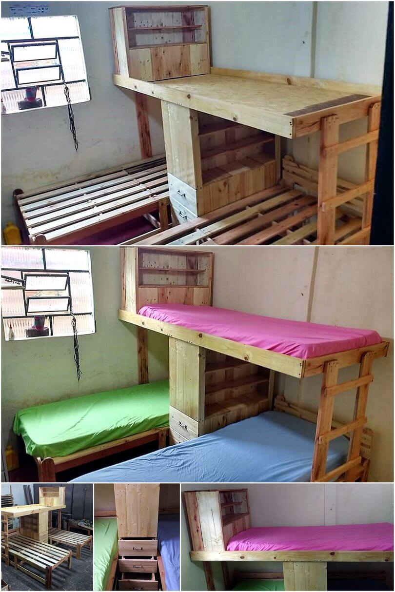 diy wood pallet bunk bed