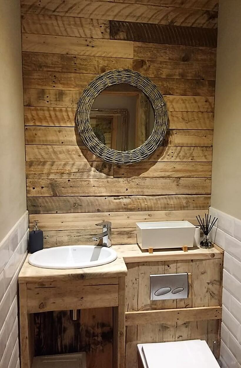 pallet sink cabinet with wall art