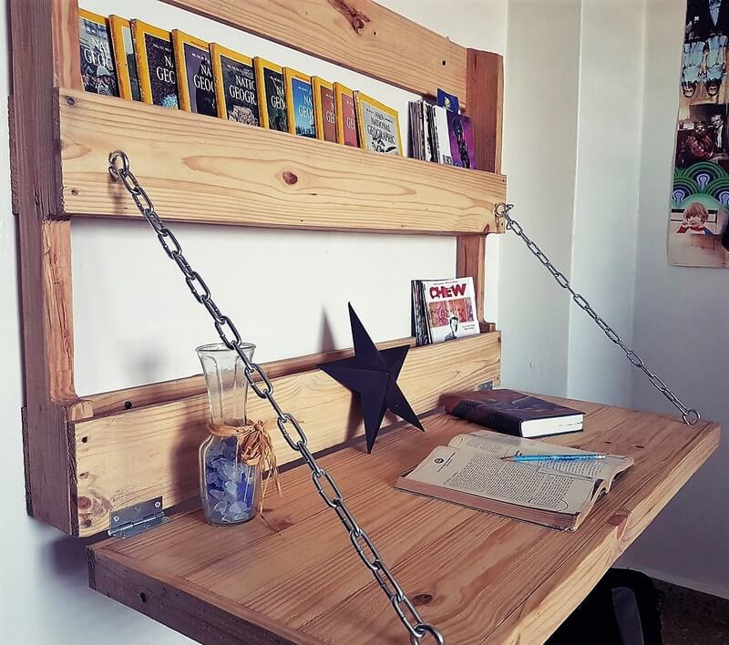 pallet wall hanged study table