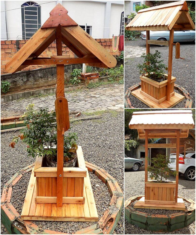 pallet well planter for garden