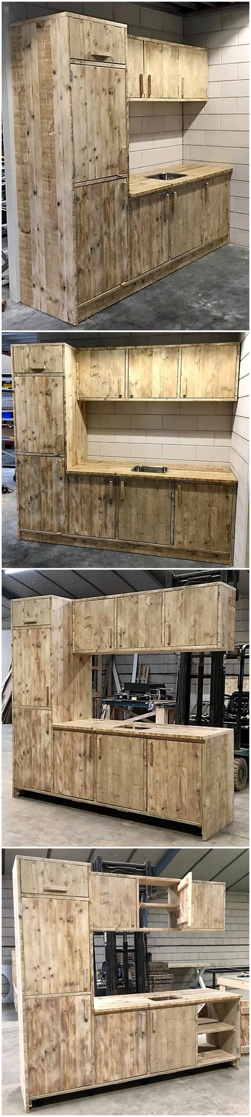 Awesome pallet reusing ideas that bring trash back to life for Kitchen units made from pallets