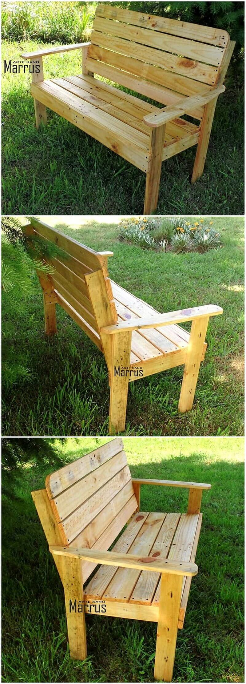pallets wood made garden bench