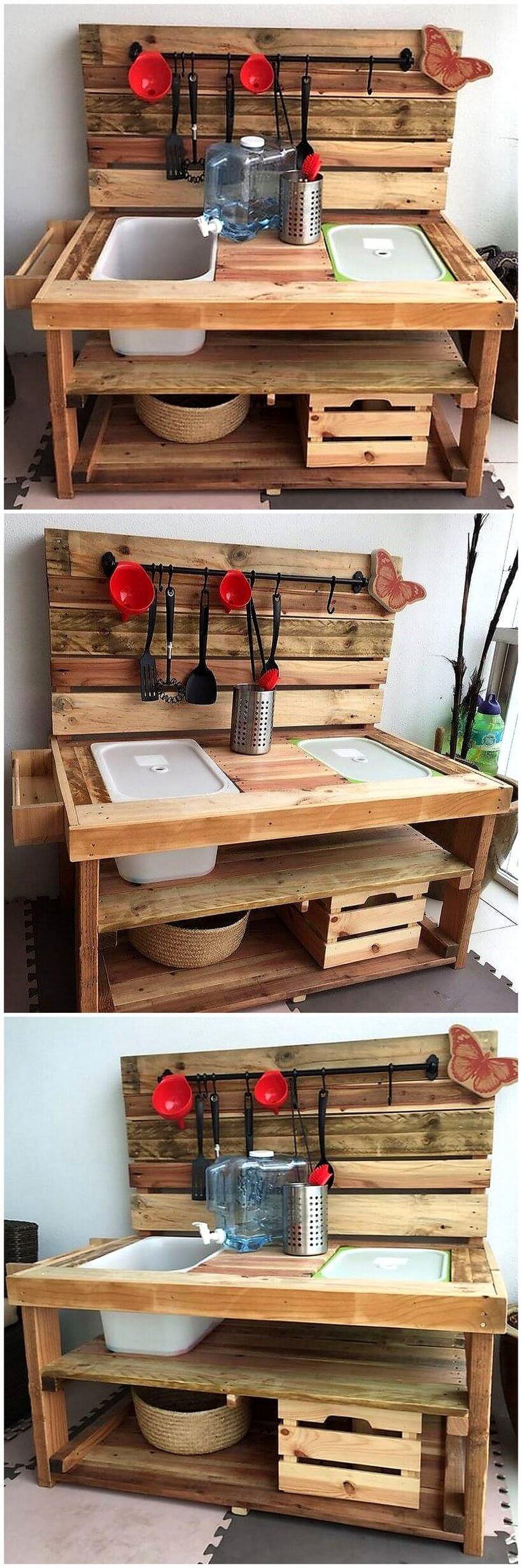 repurposed pallets made kids mud kitchen