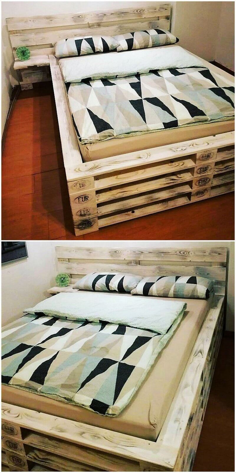repurposed pallets wooden bed