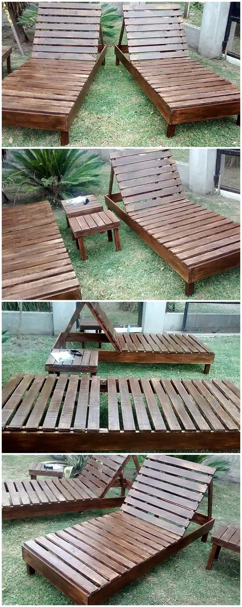 reused pallet wood sung loungers