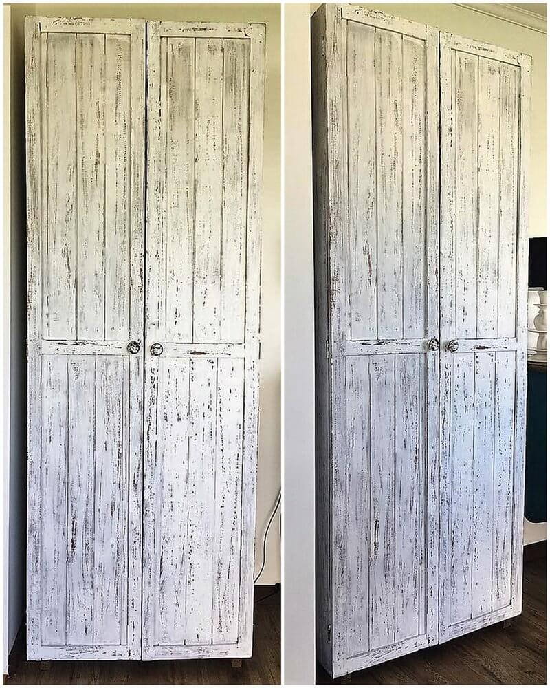 reused pallets made closet
