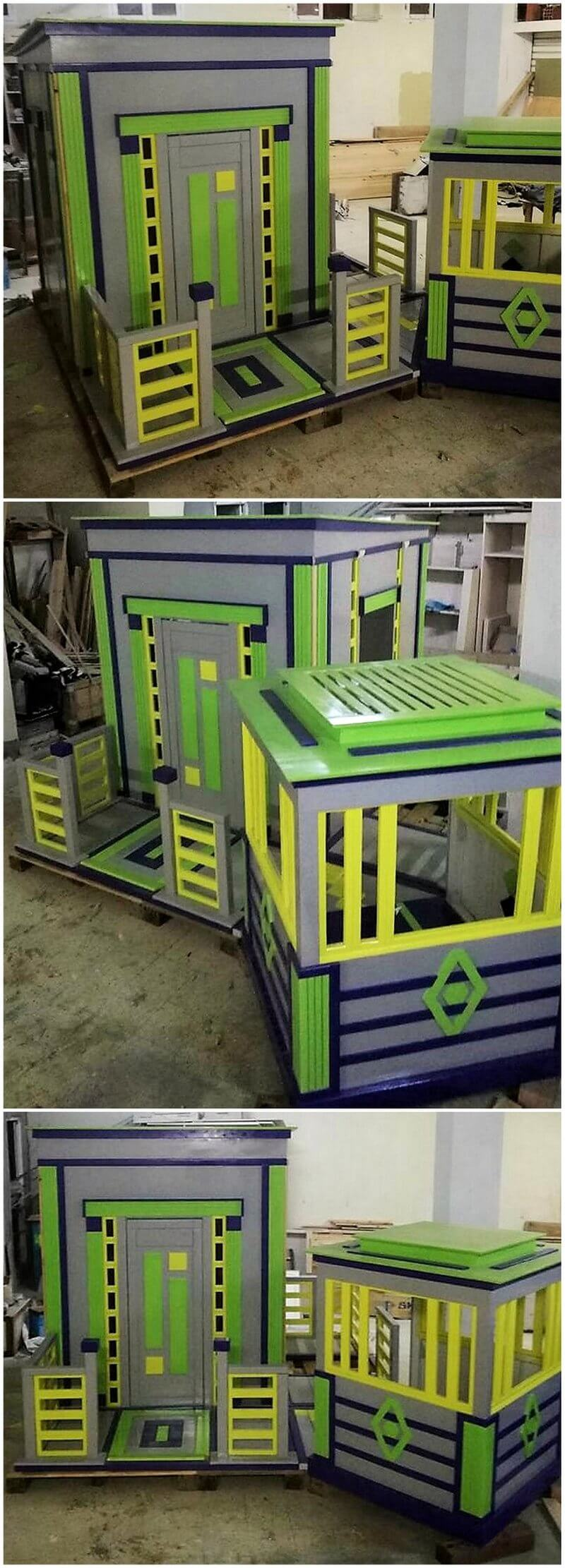 reused pallets made kids playhouse