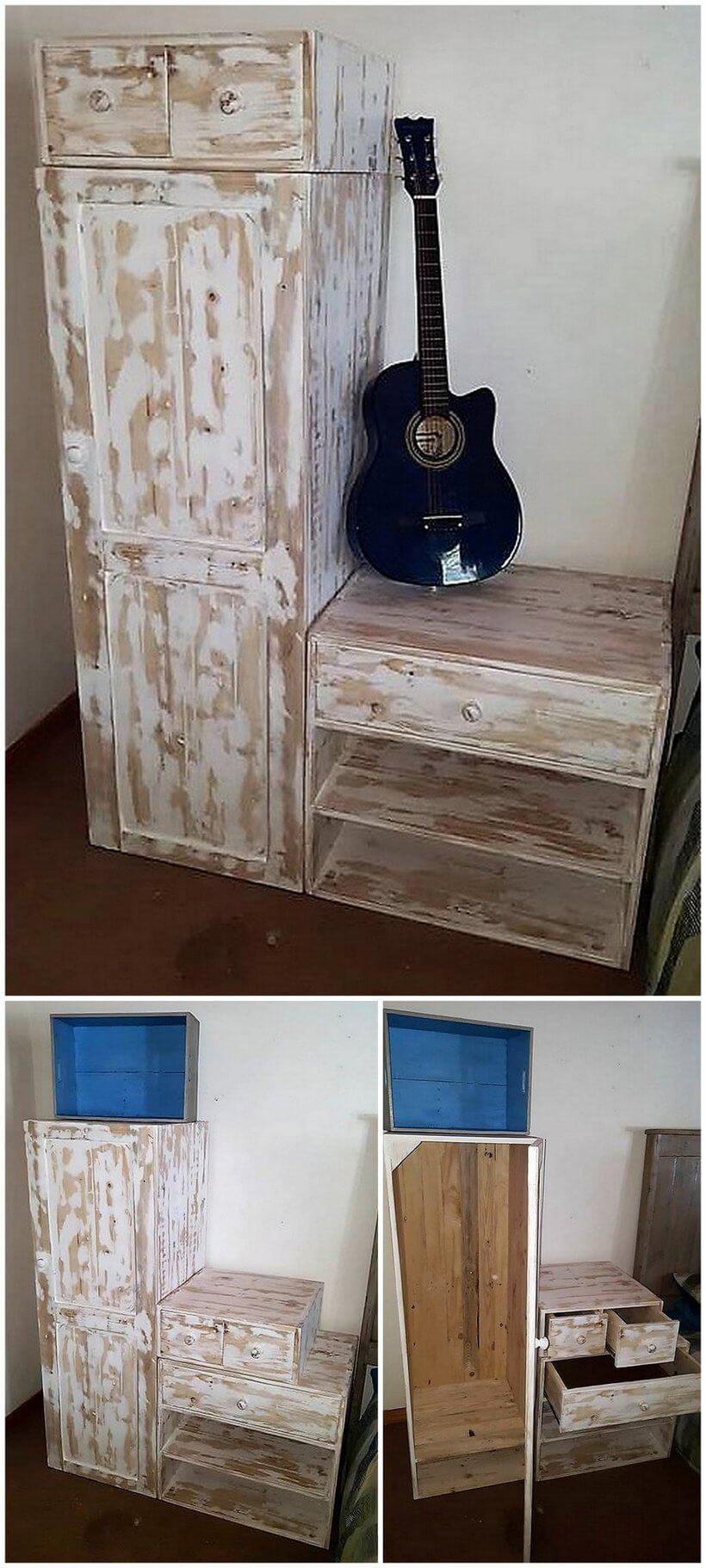wood pallet drawers unit