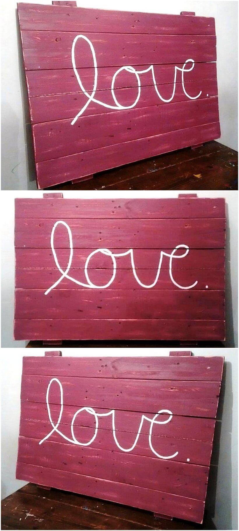 wood pallet love sign art