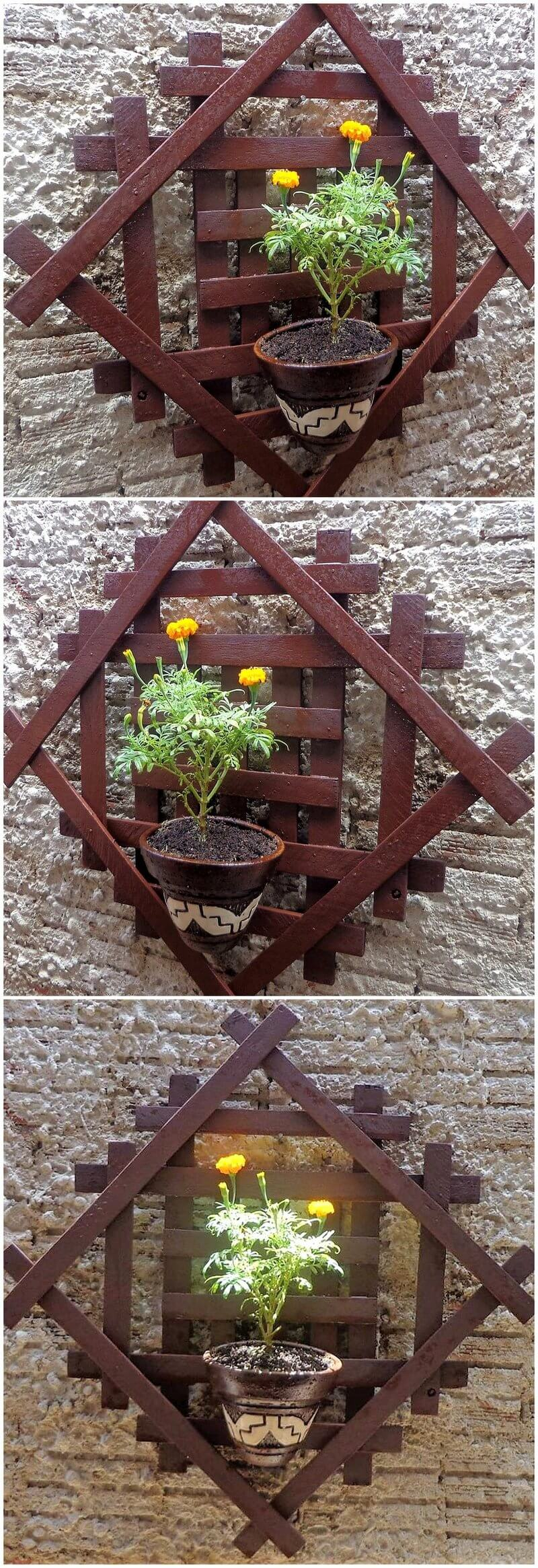 wood pallet wall pots stand art