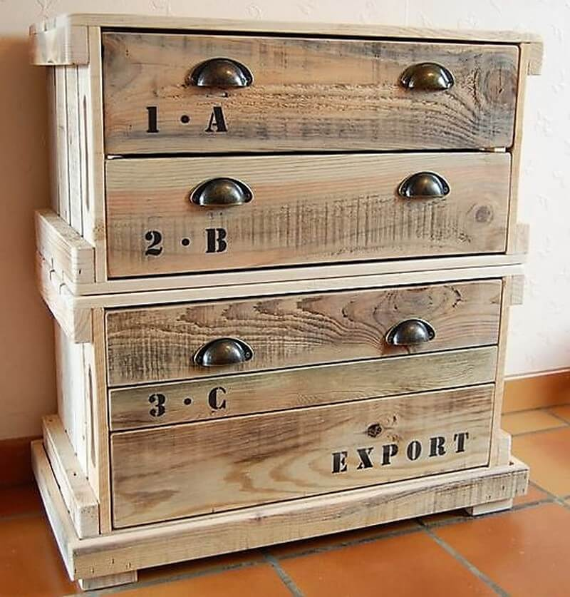 wooden dresser of pallets