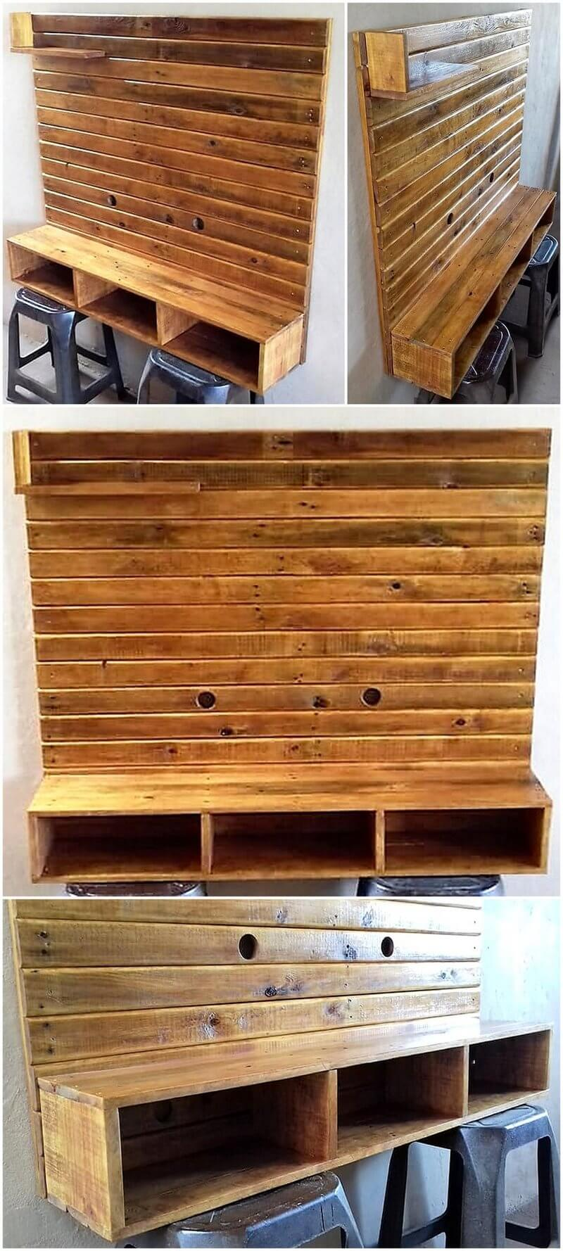 wooden pallets wall hanged tv stand