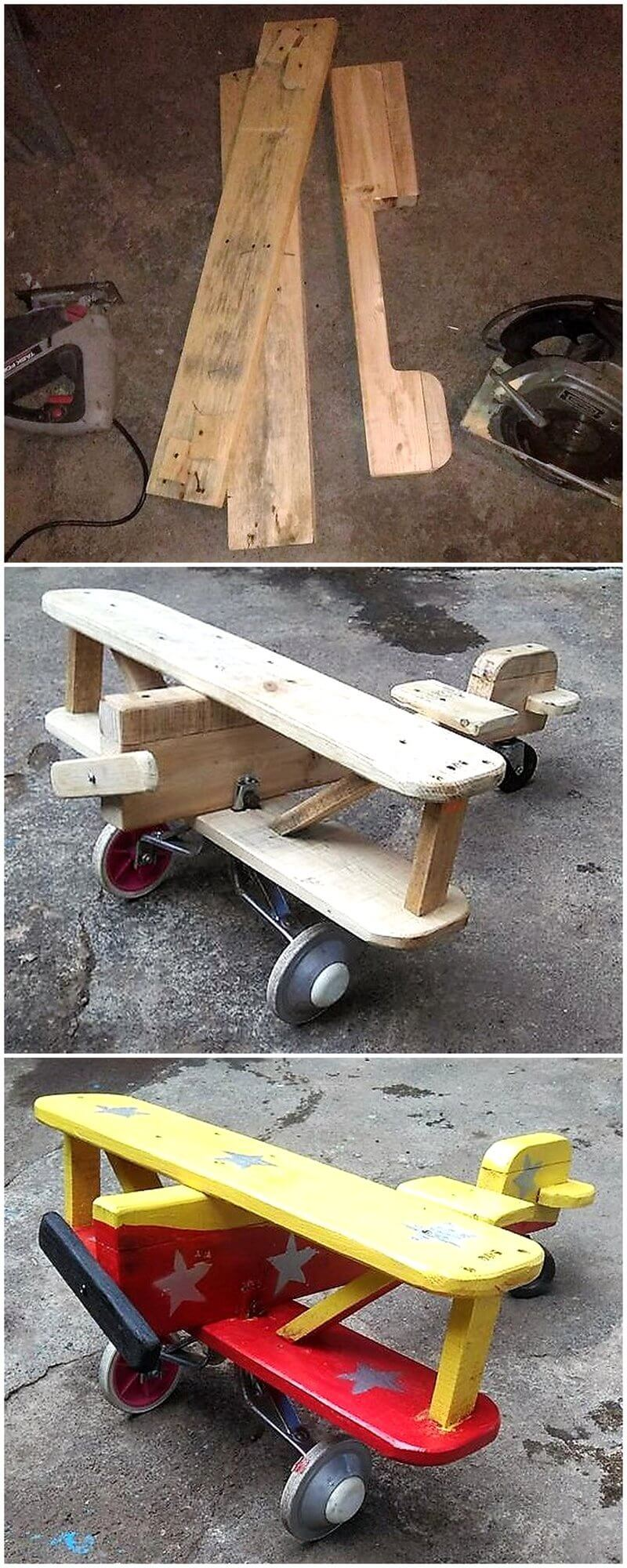 diy pallets wooden kids plane