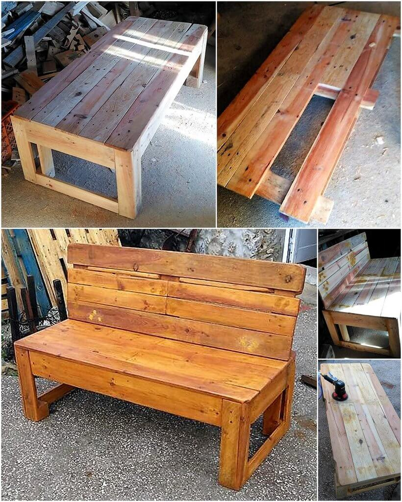 diy wood pallets made bench