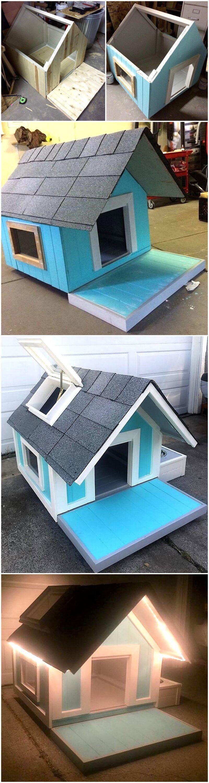diy wooden pallets dog house plan