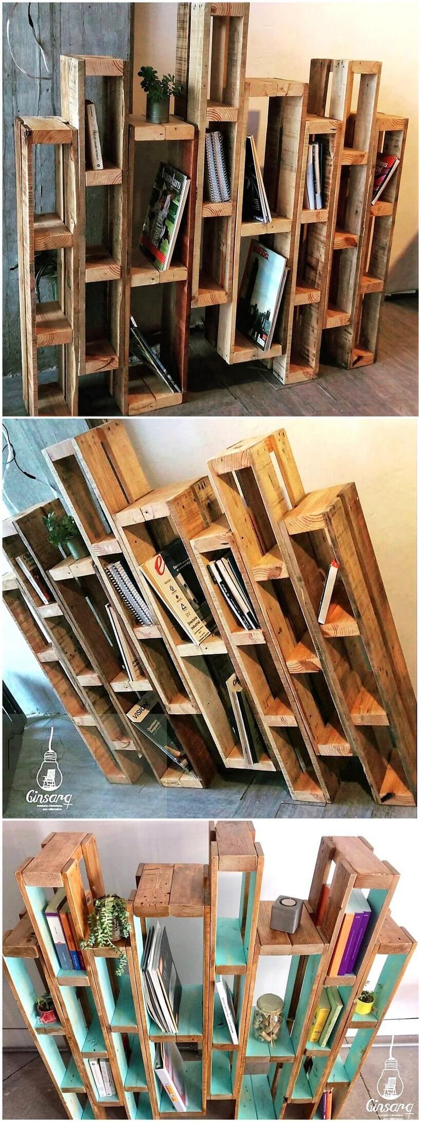 pallet bookshelf idea