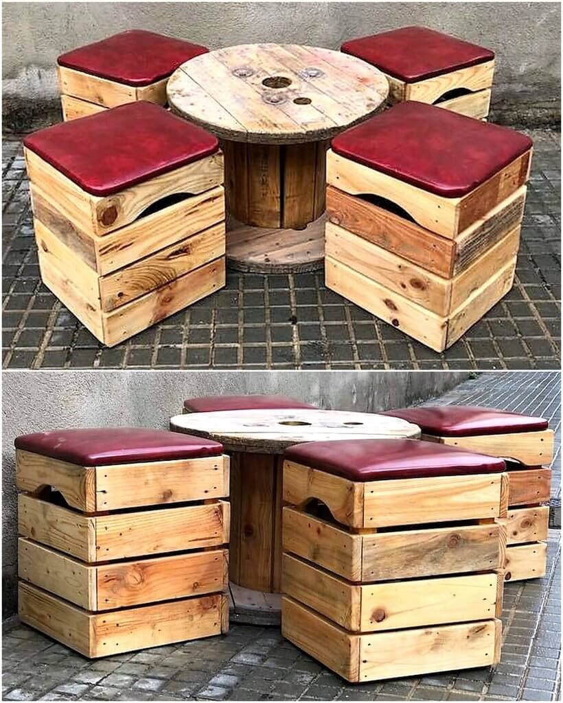pallet cable reel and fruit crates furniture set