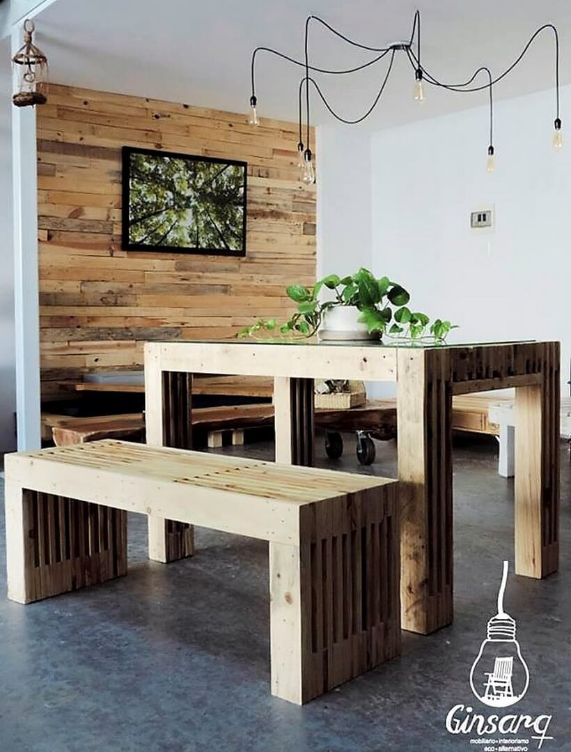 pallet dining set and wall art