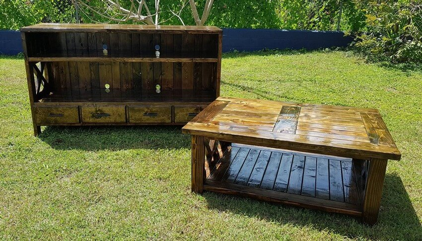 pallet entertainment center with coffee table