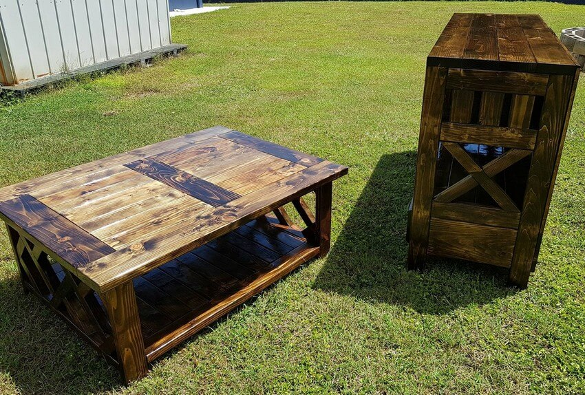 pallet entertainment center with xl coffee table 2