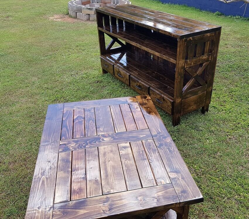 pallet entertainment center with xl coffee table