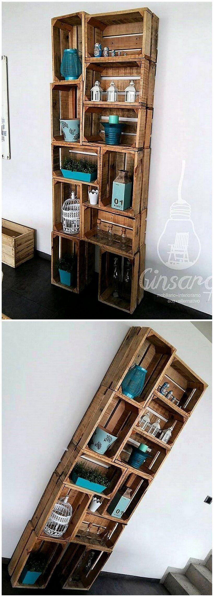 pallet fruit crates rustic shelves