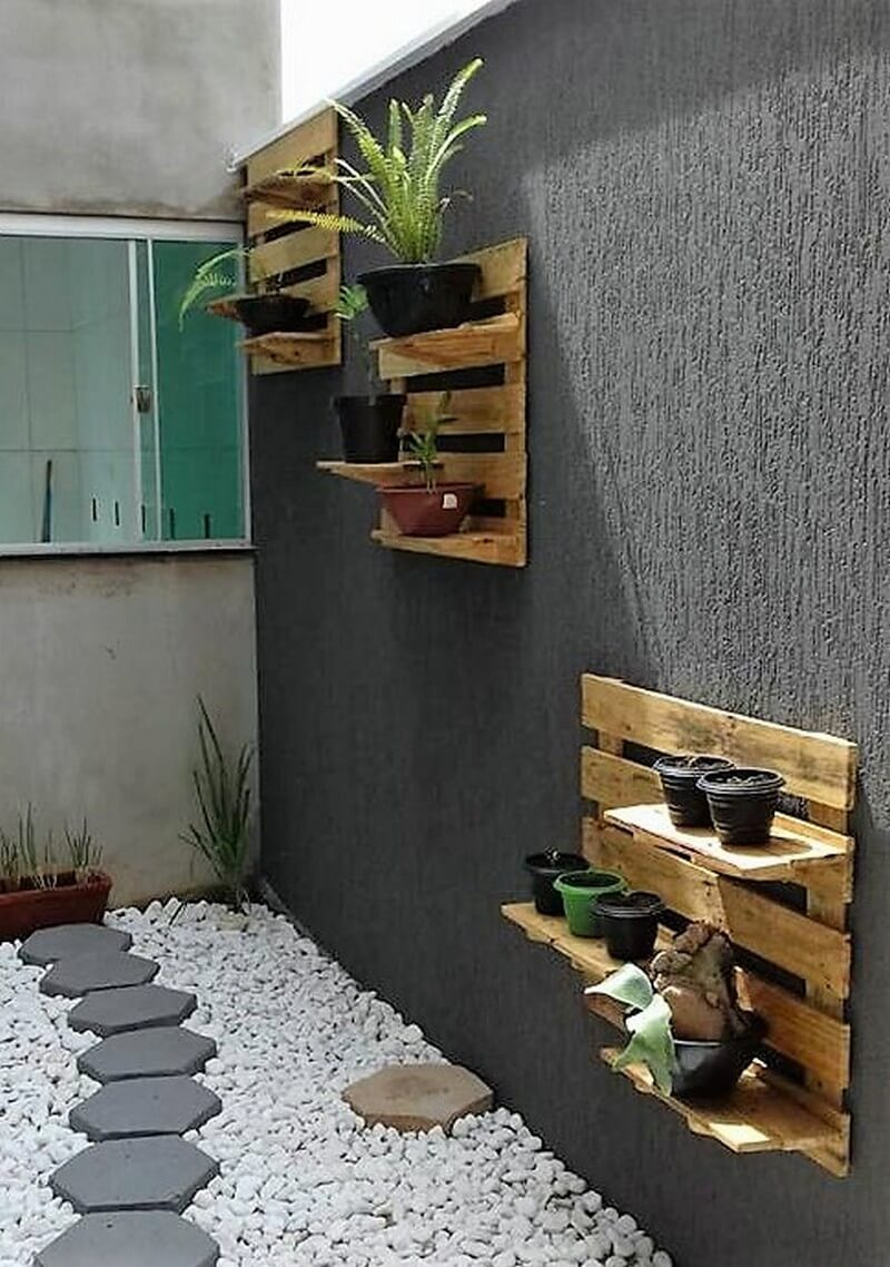 pallet pots stand decor art