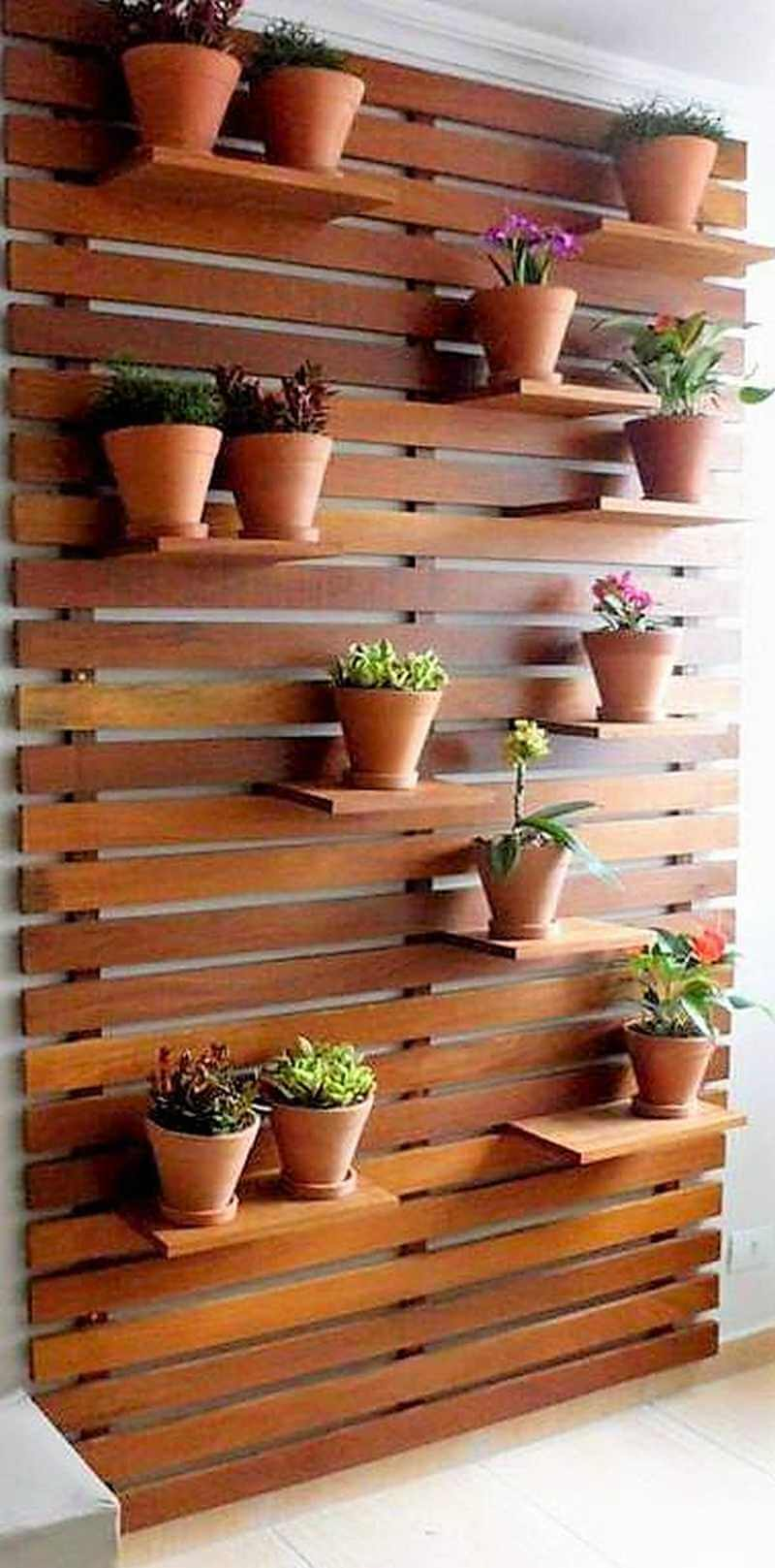 pallet wall attached pots stand