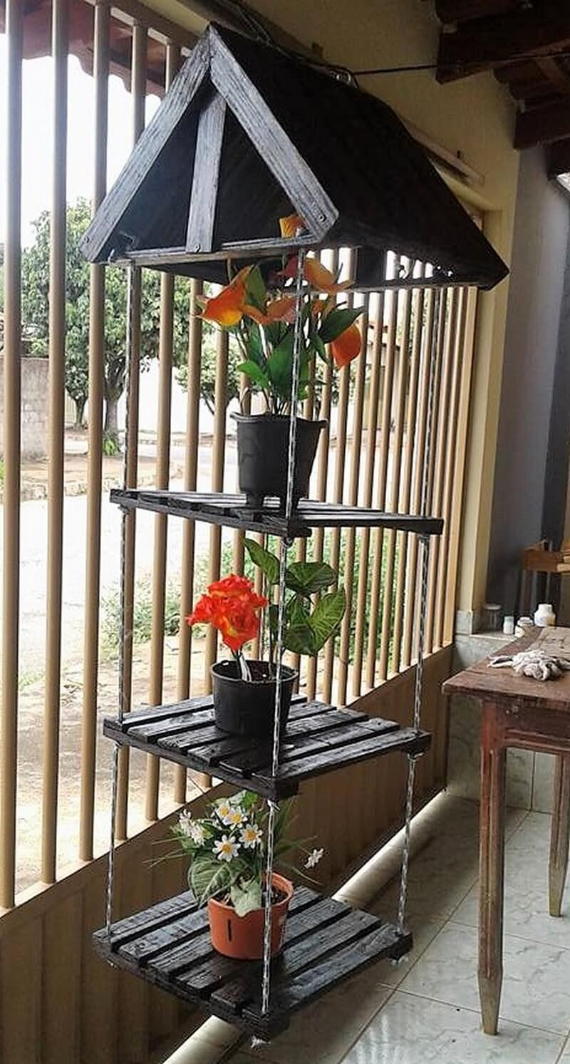 pallets hanging pots stand art