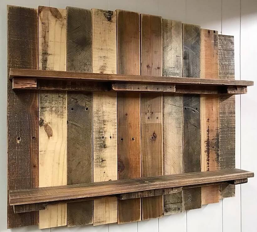 pallets made rustic shelf