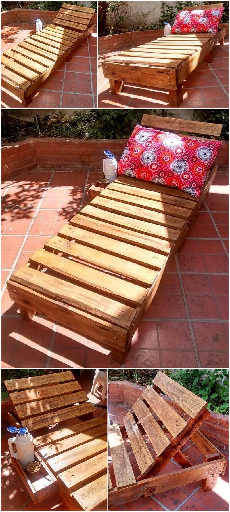pallets wooden sun lounger