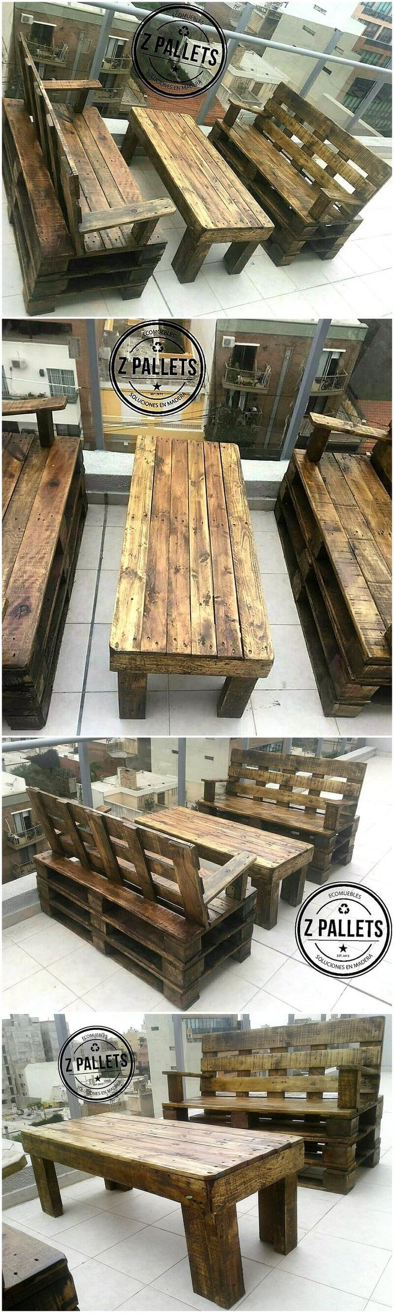 recycled wooden pallet furniture set