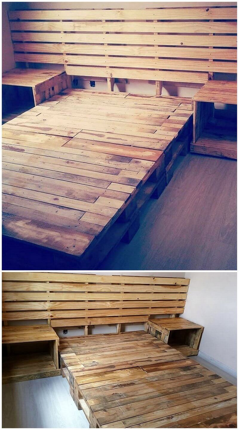reused pallet bed frame