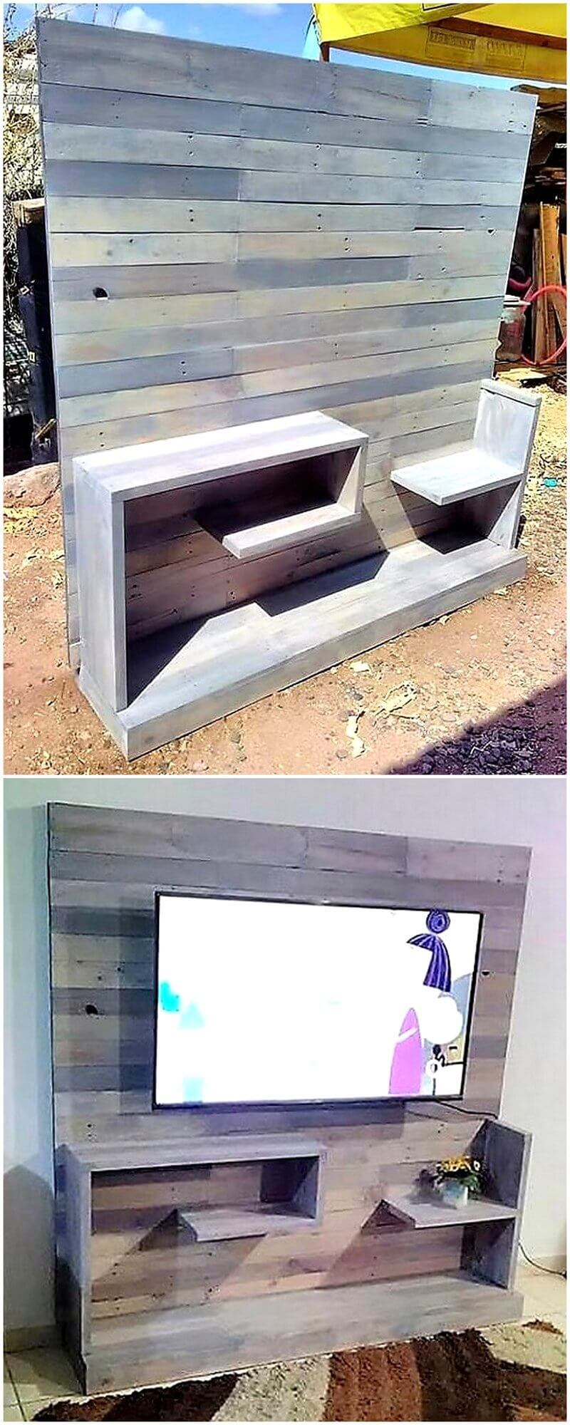 reused pallet tv stand idea