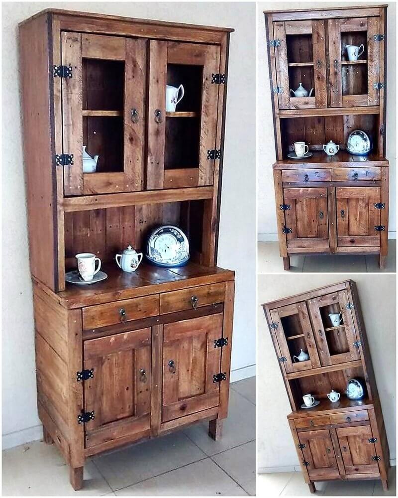 reused pallets made cupboard