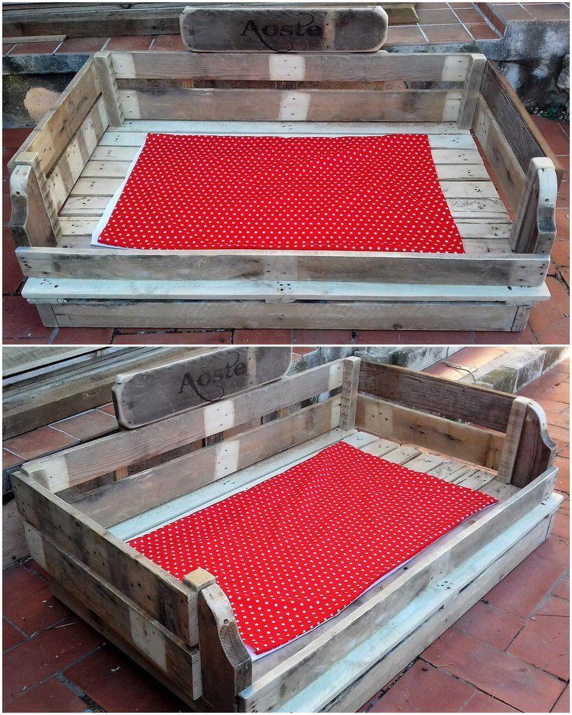 reused pallets made dog bed