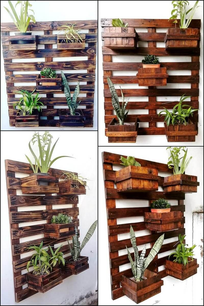 reused pallets pots stand