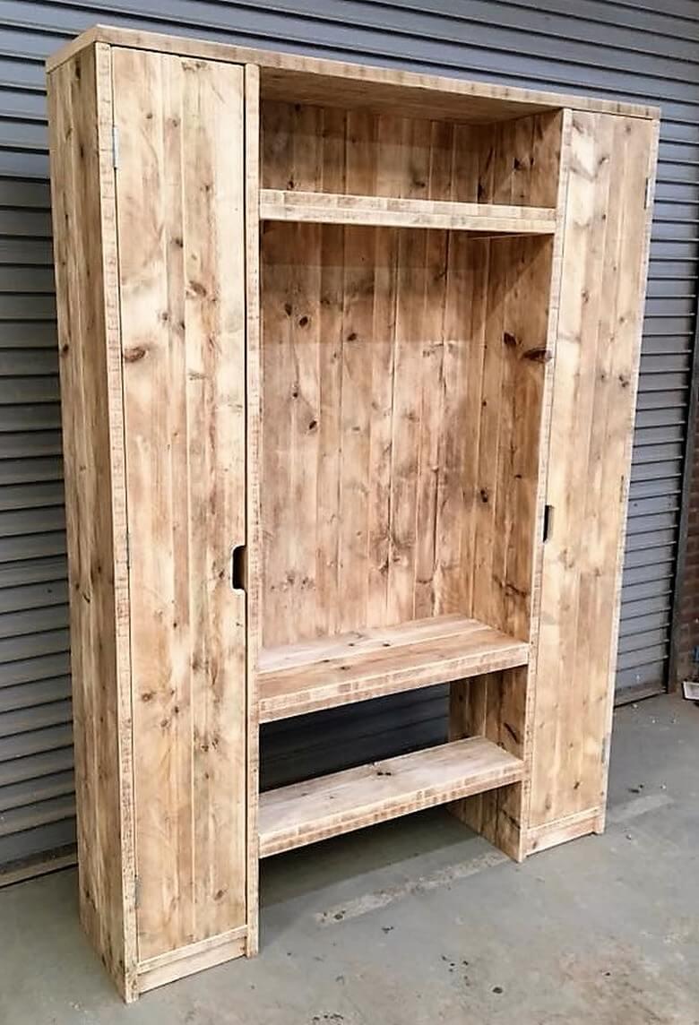 reused pallets wood closet