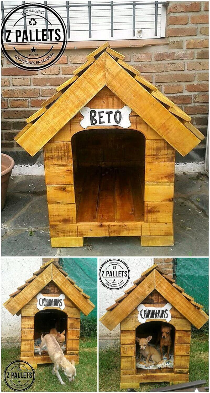 reused wood pallet dog house idea