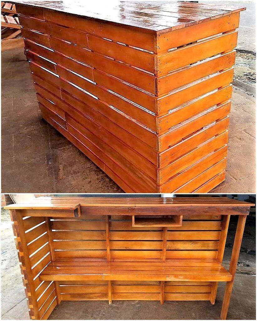 reused wooden pallet bar