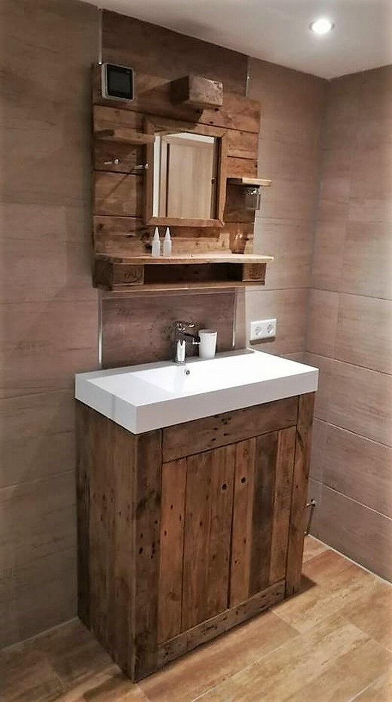 wood pallet basin and mirror