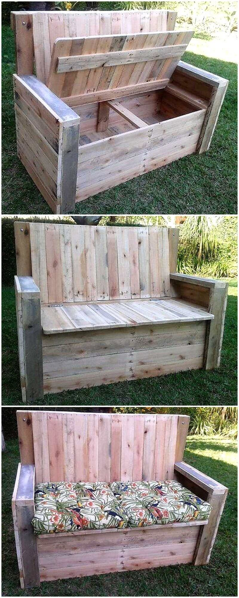 wood pallet chest bench