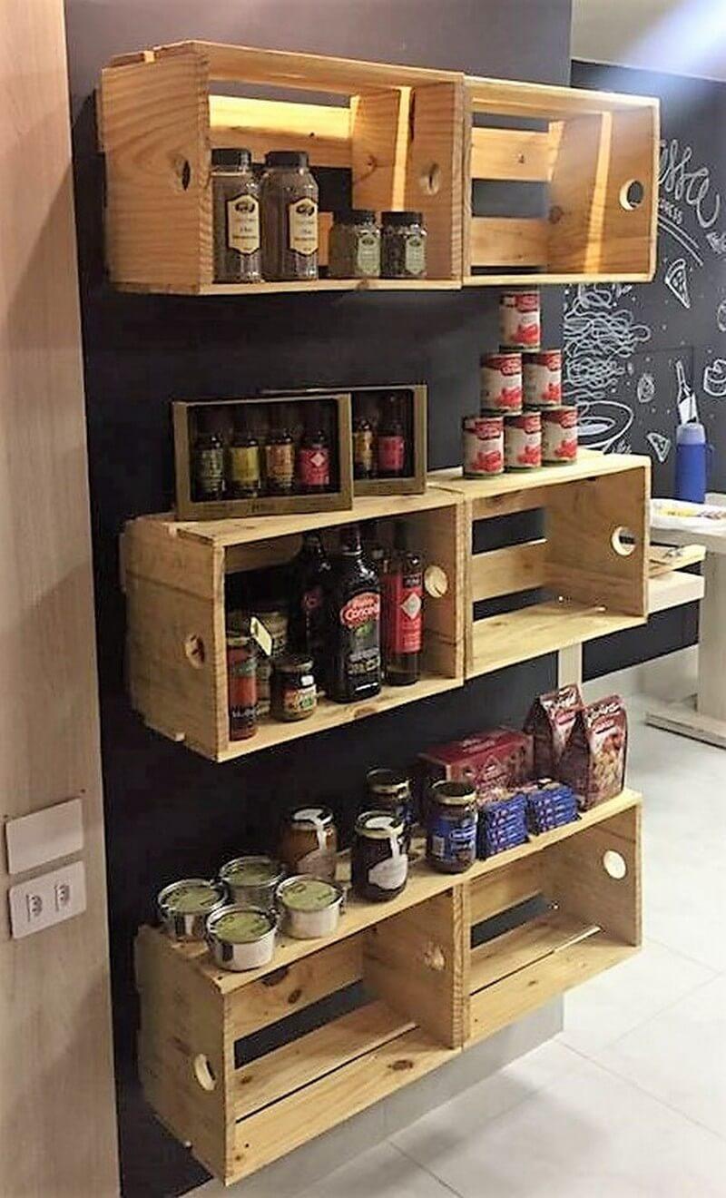 wood pallet fruit crates shelving