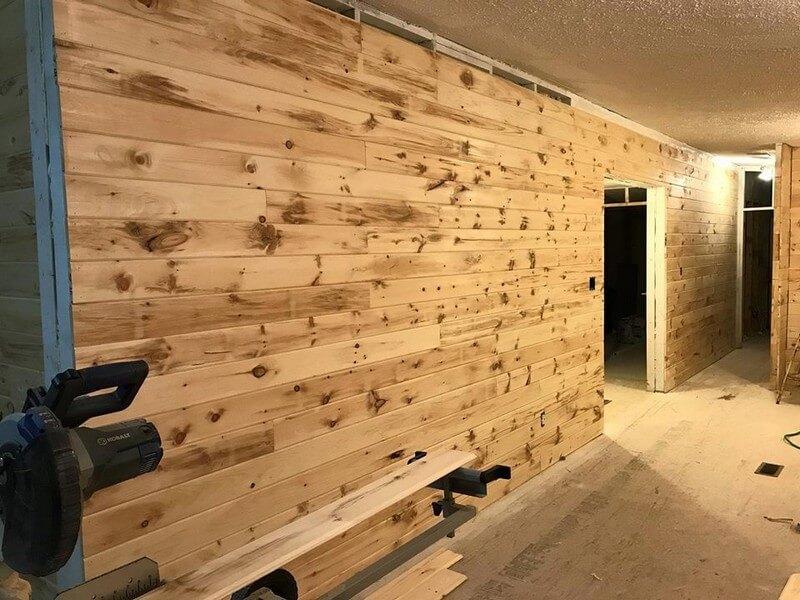 wooden pallet wall caldding plan