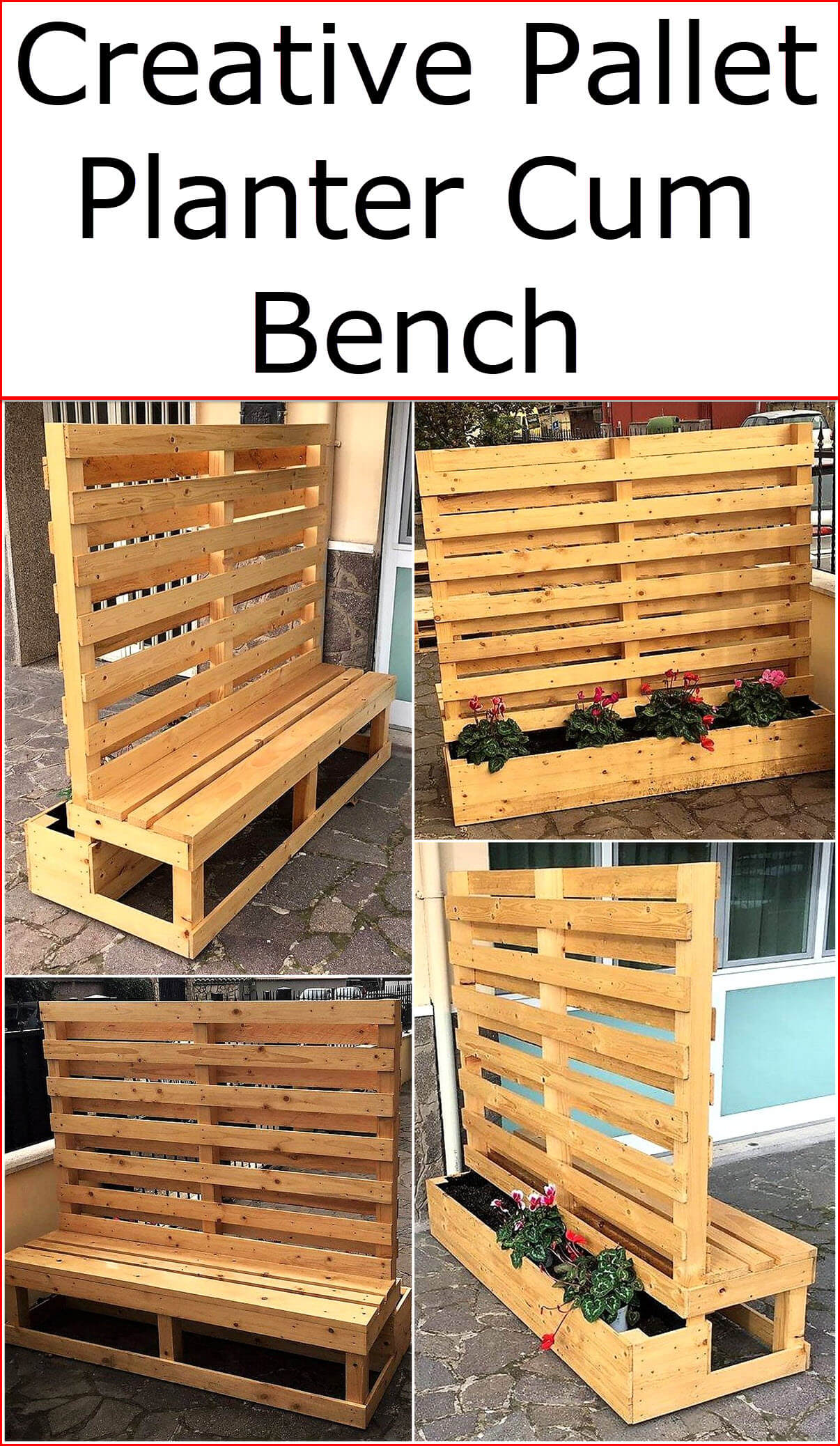 Creative Pallet Planter Cum Bench