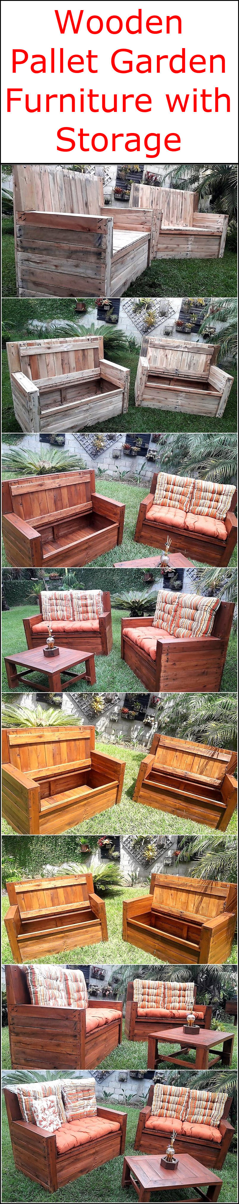 Wooden Pallet Garden Furniture with Storage