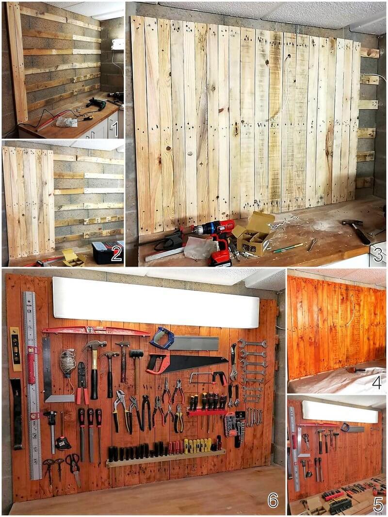 diy wood pallet tool storage wall