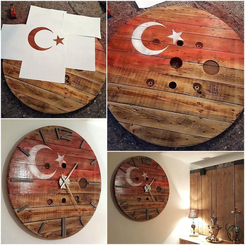 diy wood pallet wall clock art